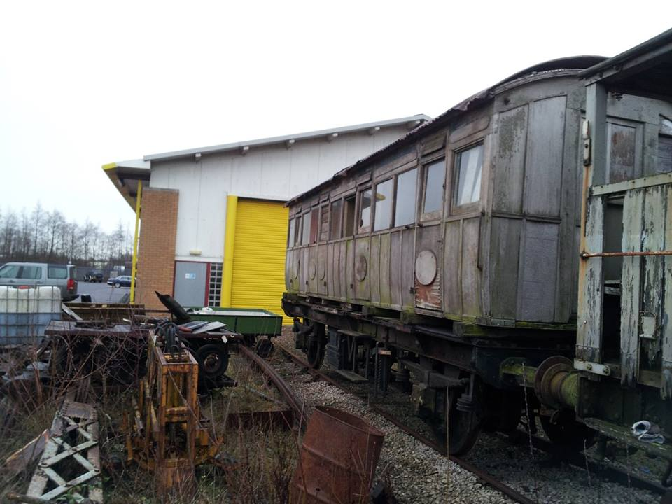 The NLR First Class Carriage mounted on the steam heat van chassis pending restoration