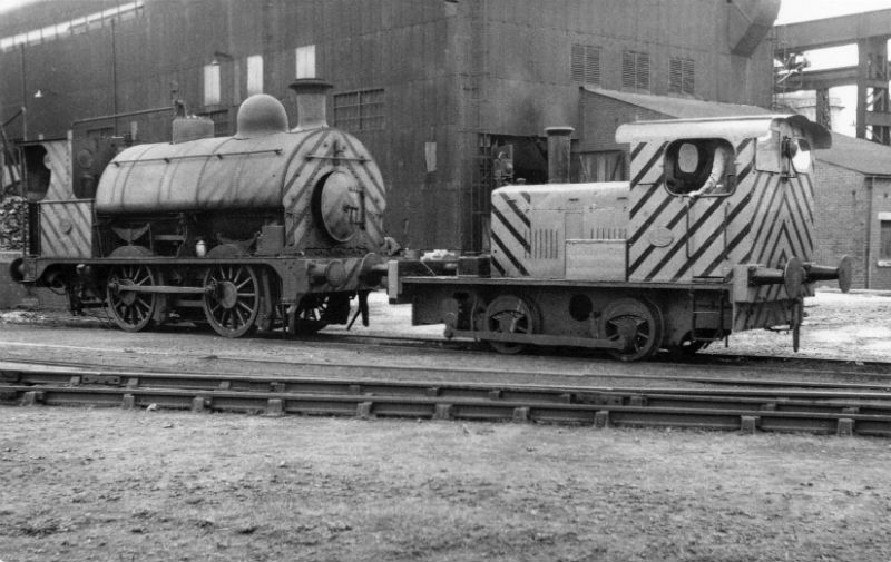 "BHSCo Number 17 at Barrow Steelworks in 1958 with ""Fluff"" which is also in the FRT Collection"