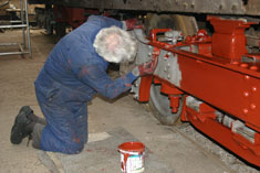 Fred Jones priming the newly shotblasted bogies of GER 5